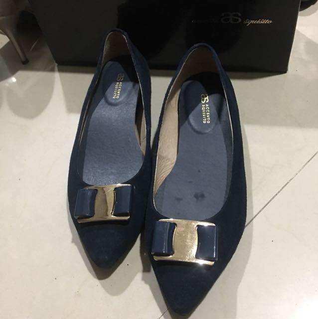 AccentoSquisito專櫃真皮麂皮氣質藍平底鞋