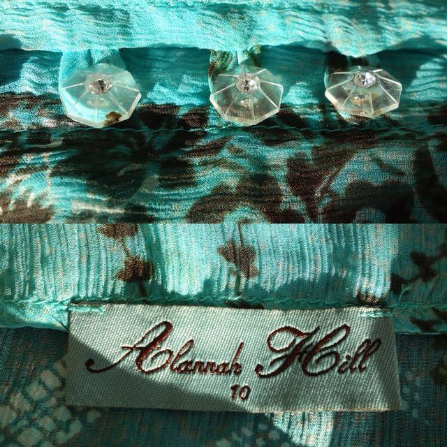 "Alannah Hill Summer ""Cry Baby Frock"" - Green (100% silk)"