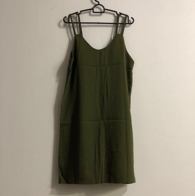 Army green slip on dress