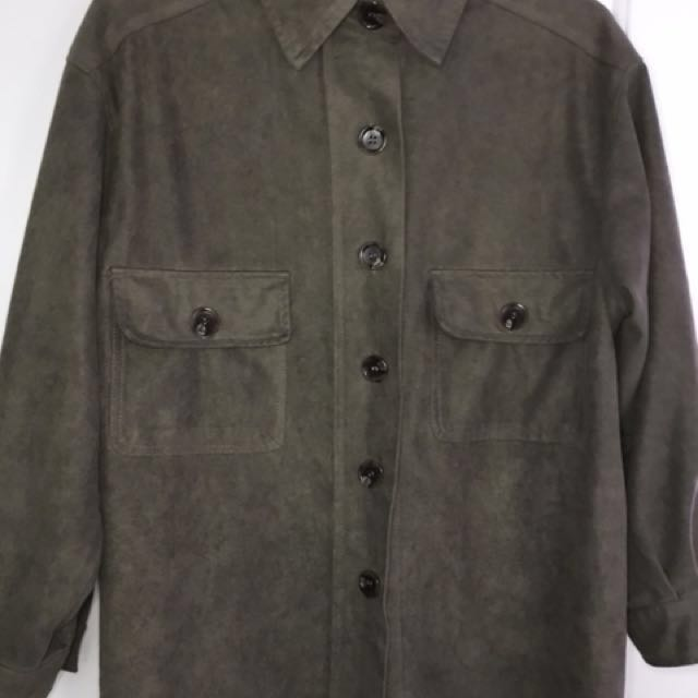 Army Green Suede Shirt