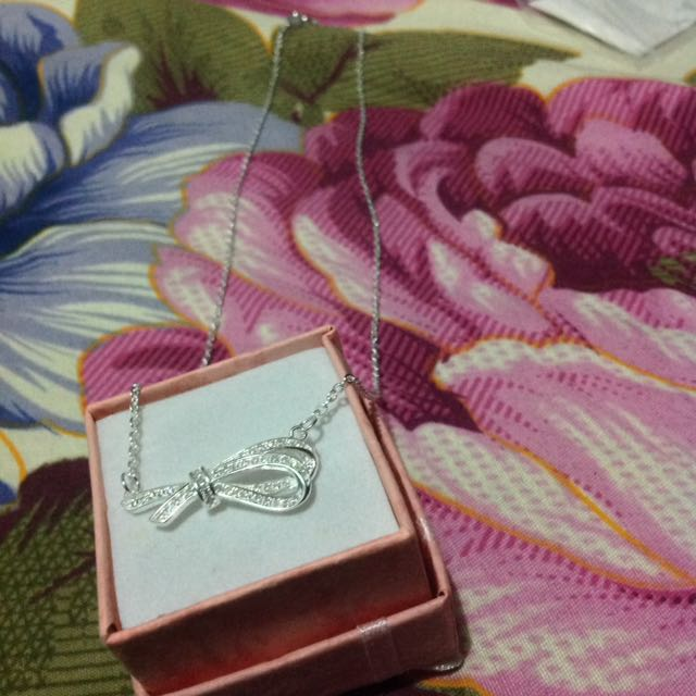 Authentic silver with ribbon-designed stone pendant