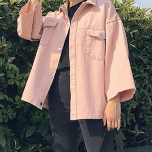 baby pink denim jacket