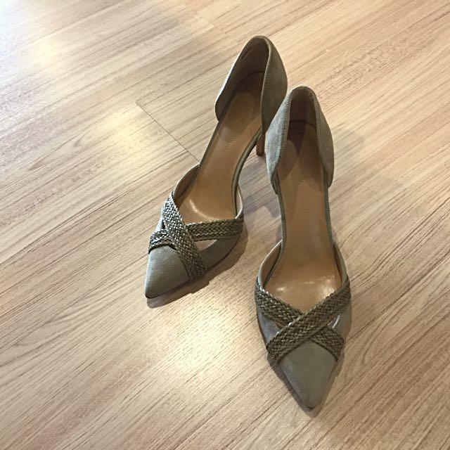 全新🗣Banana republic 墨綠色麂皮高跟鞋