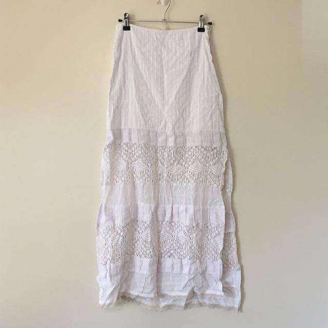 Billabong Long White Lace Cotton Skirt