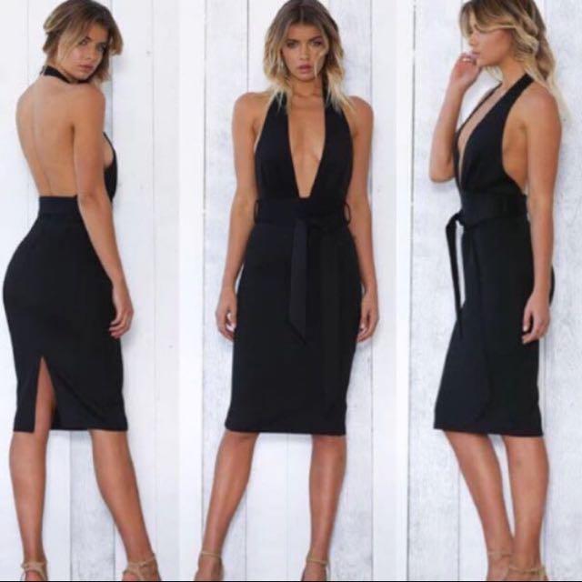 Black Drop Neck Midi Dress