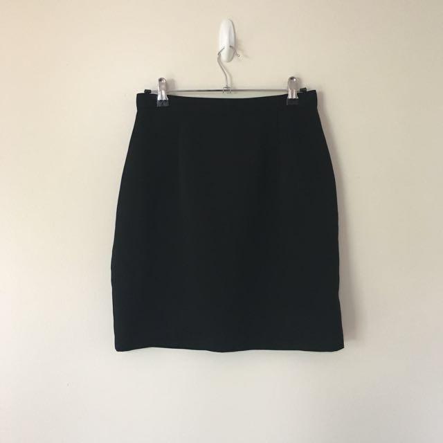 Black High Waisted Office Skirt