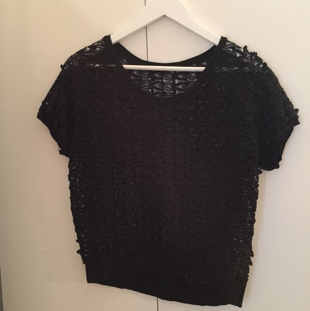 Black knitted see through crop top