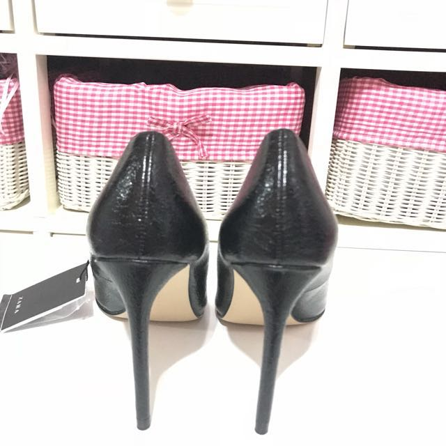 black leather high heels