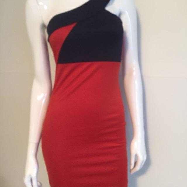 Blood orange/dark blue dress