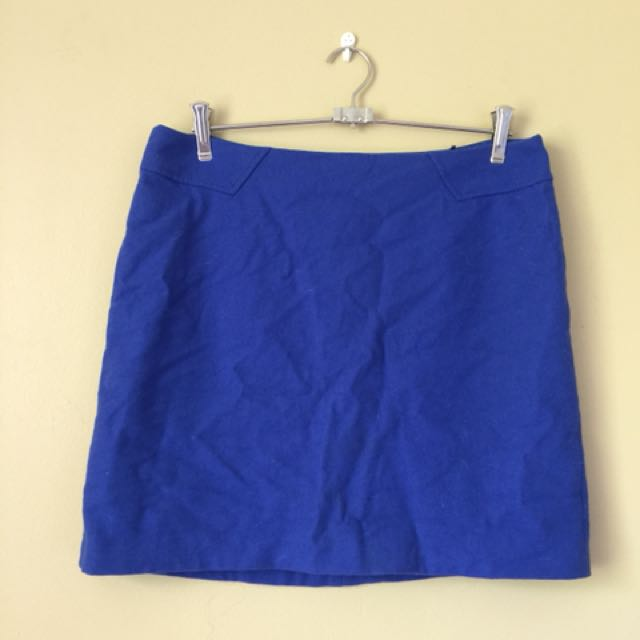 Blue Fabric Mini Skirt Sz M