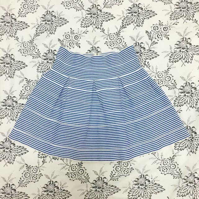 Blue Striped Bandage Flare Skirt