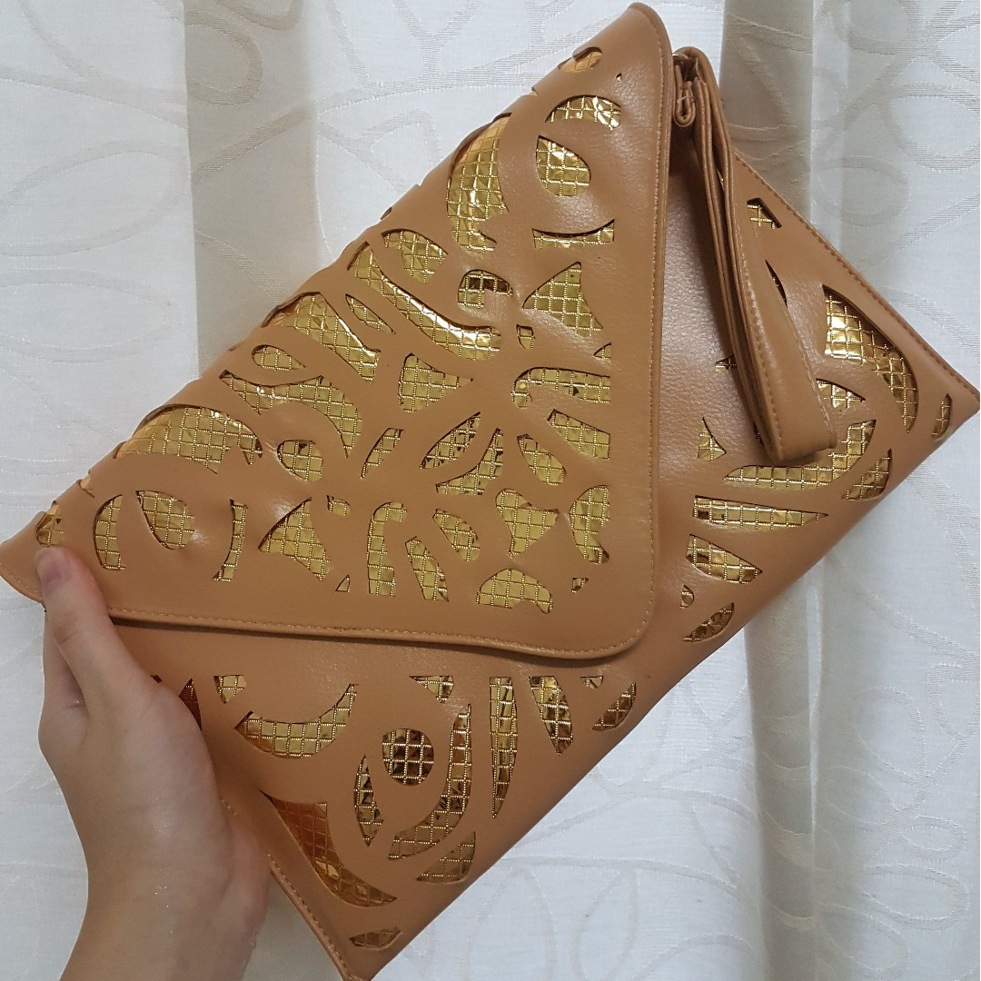 Brown Envelope Clutch