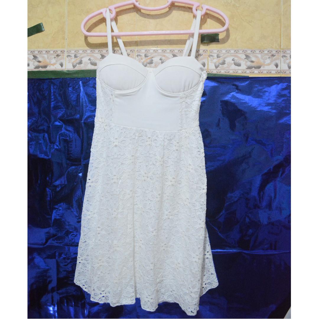 bustier lace white dress