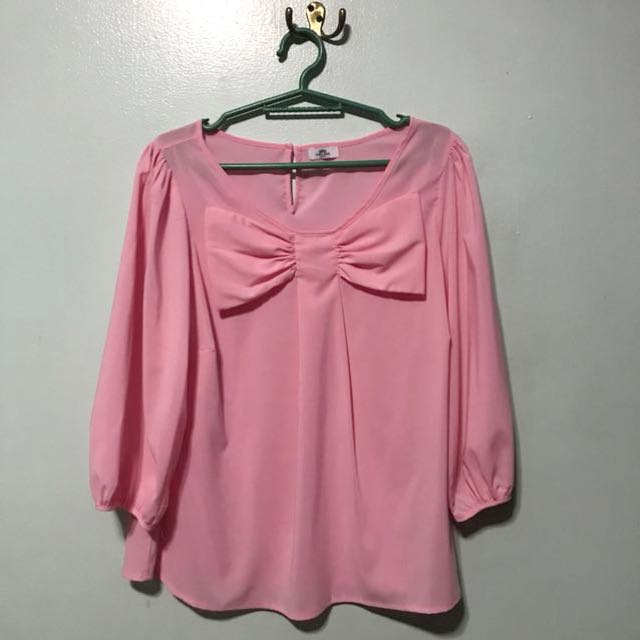Chelsea Pink Blouse with Bow