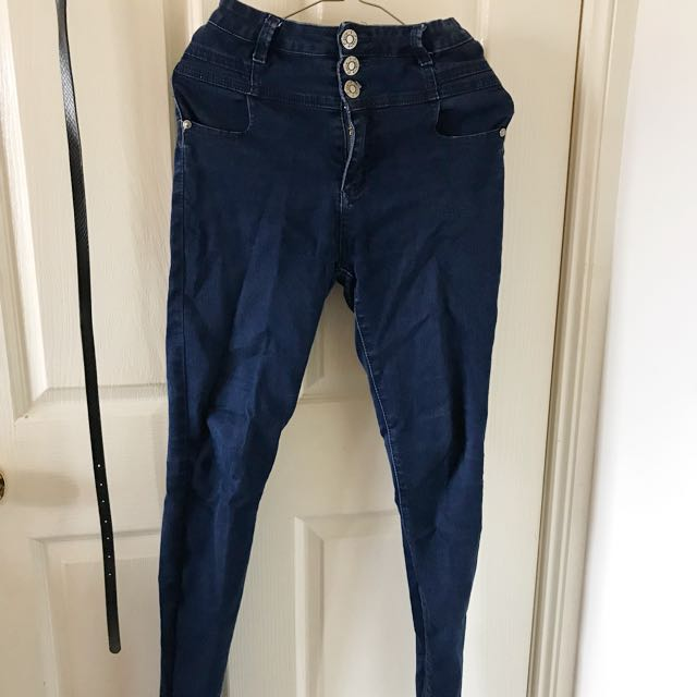 COUNTRY DENIM Navy Blue High Waisted Skinny Jeans