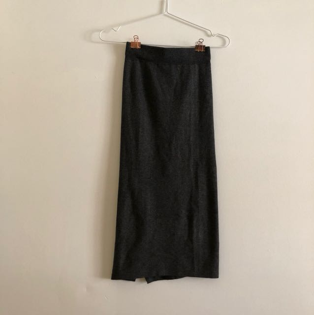 Dark grey office pencil skirt with slit at the back
