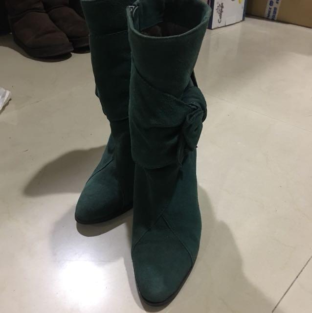 ELLE 時尚綠真麂皮短筒靴