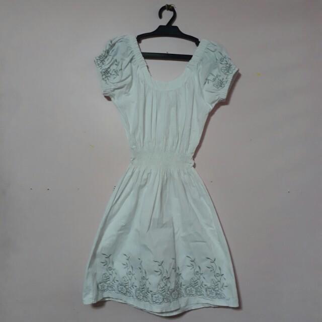 Embroided off shoulder dress