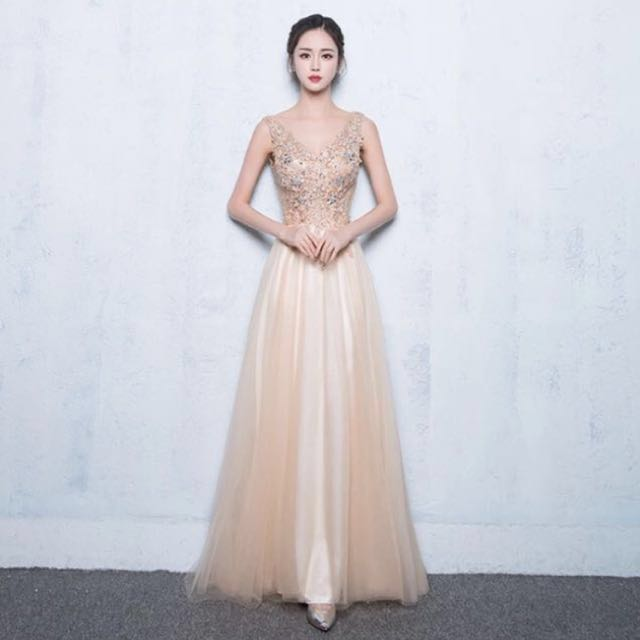 Evening Gown Gold Colour Womens Fashion Clothes Dresses On Carousell