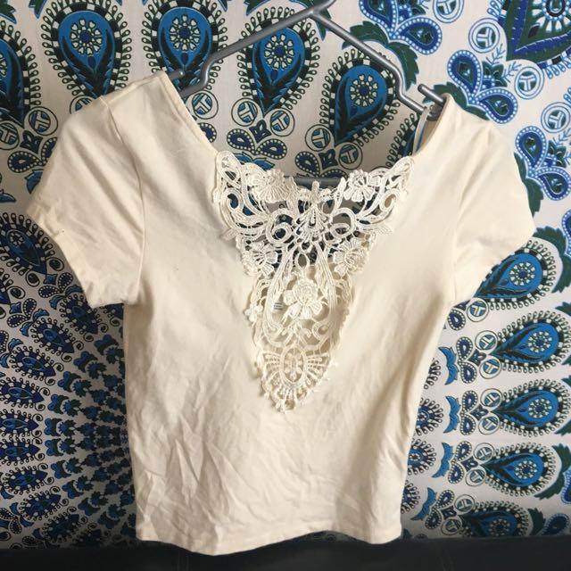 F21 beige//off white shirt