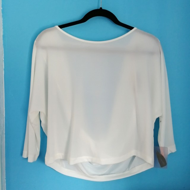 F21 dressy white top with cowl back