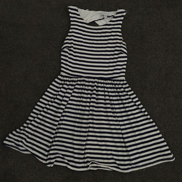 FOREVER NEW Navy White Gold Stripe Dress Size 10 Womens Casual Spring