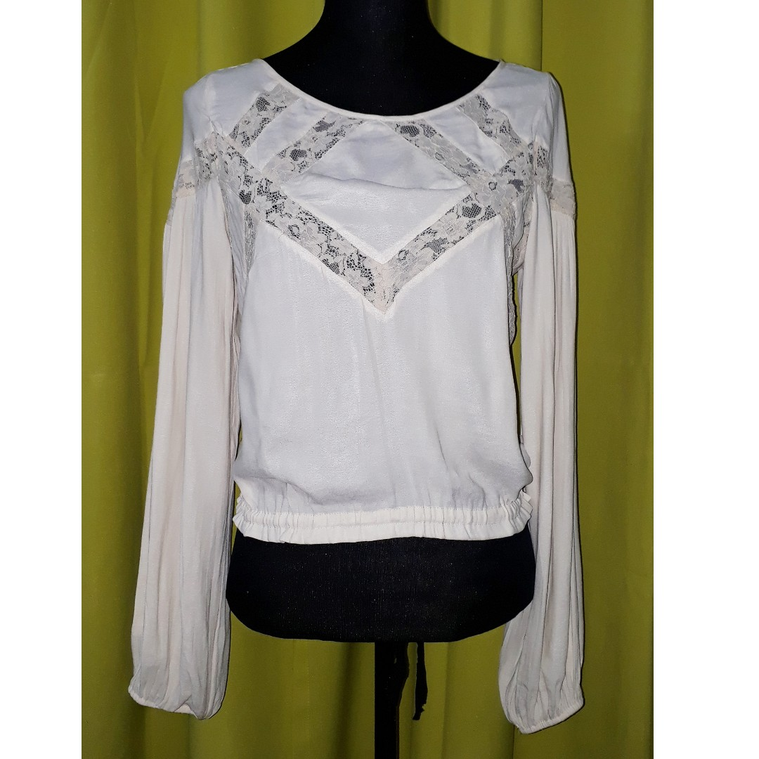 Free People lace panel boho peasant blouse
