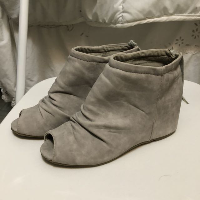 Grey suede peep toe booties size 7