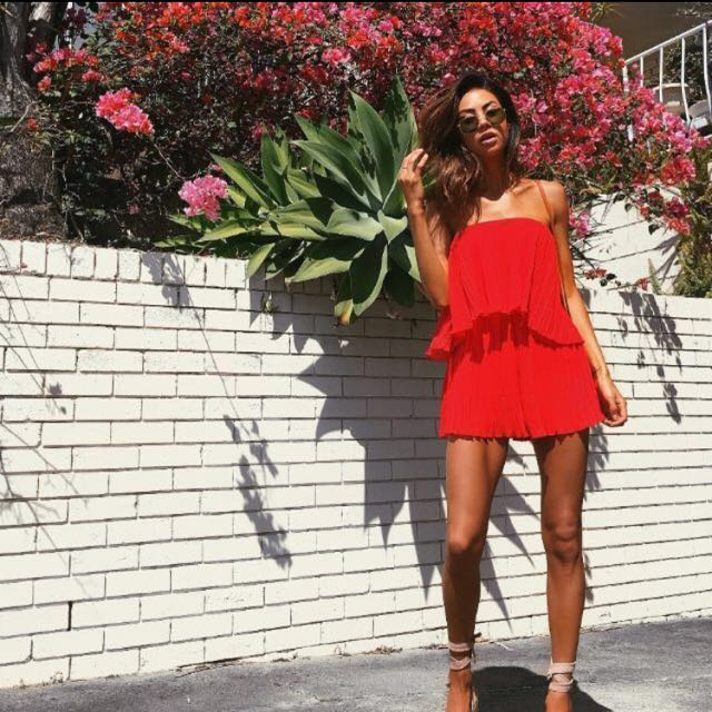 here comes the sun // pleated red playsuit