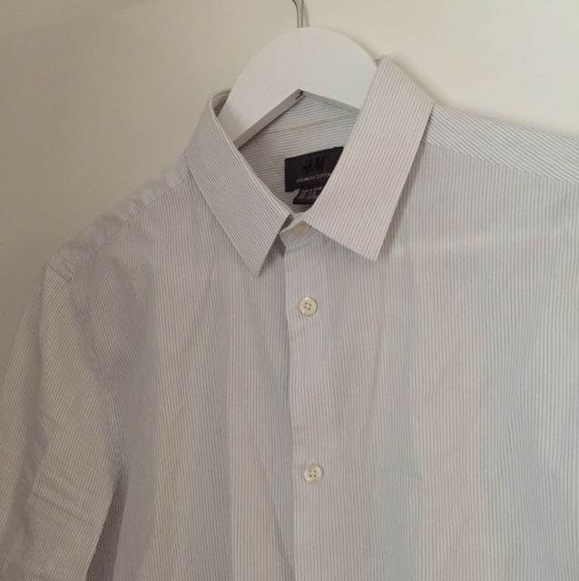 H&M men's shirt slim fit size s white with stripes