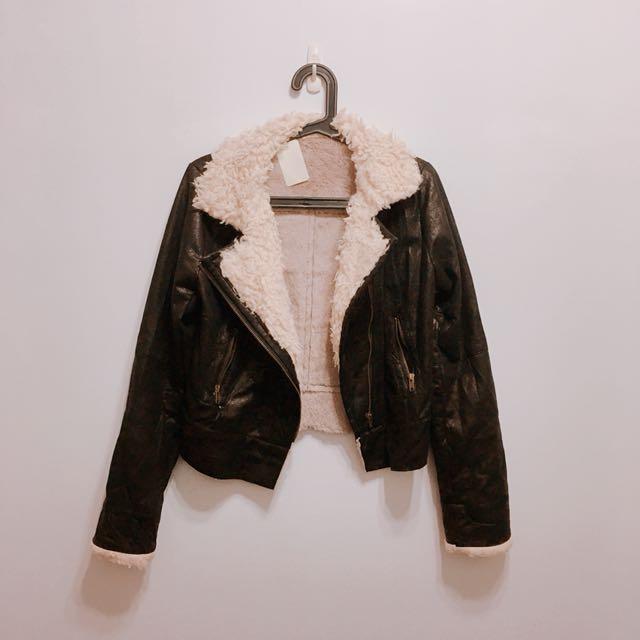 歐美款H&M ZARZ風麂皮混泰迪熊毛毛風騎士外套