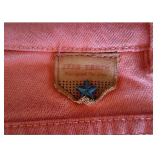 IKKS Slim Jeans - Coral Colour, Size 27