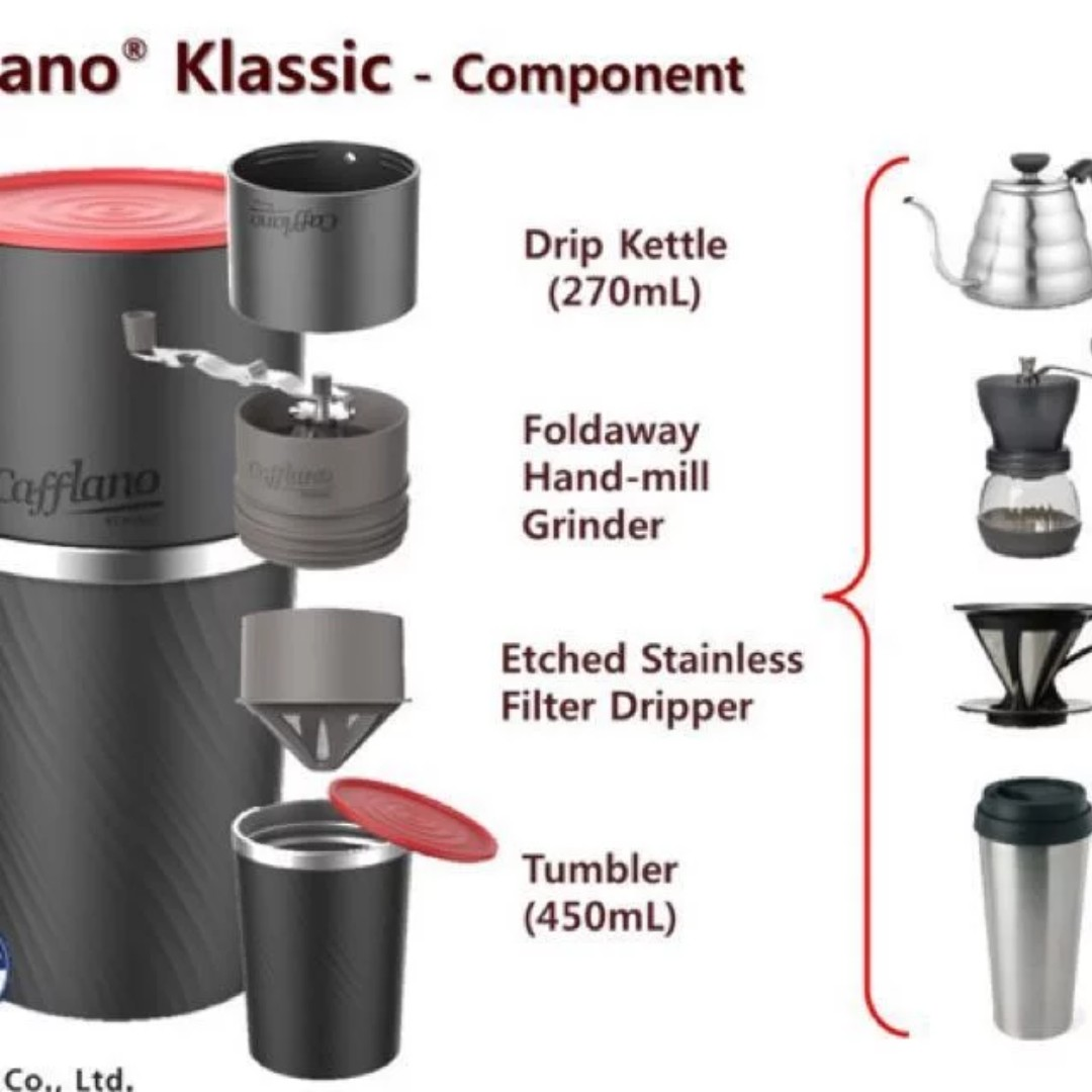 (KICKSTARTER - KOREAN) Cafflano Classic (Red) - All in 1 Coffee Grinder and Maker
