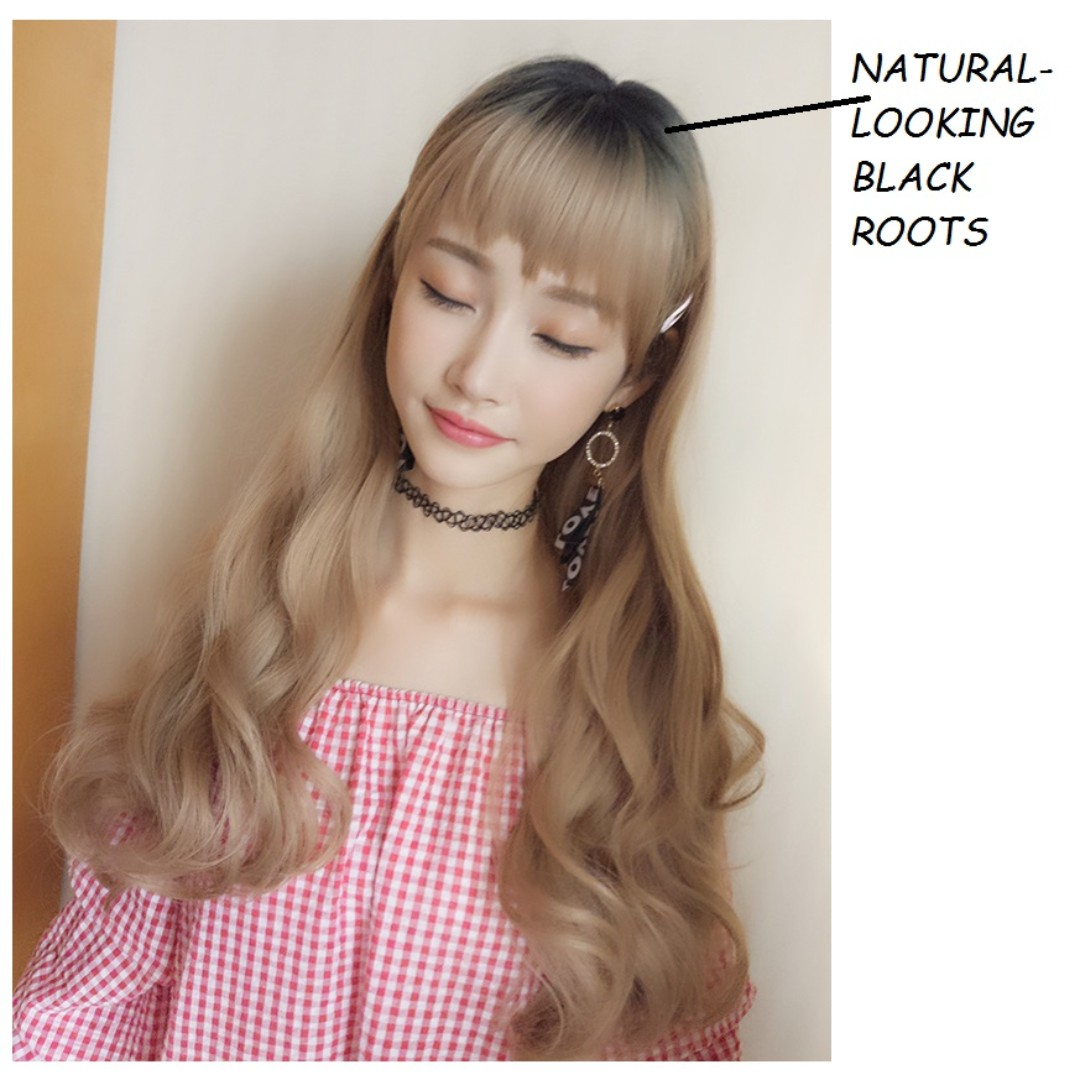 Instock Korean Full Fringe Wig With Natural Looking Black Roots Best Ing Blonde Brown Chocolate Women S Fashion