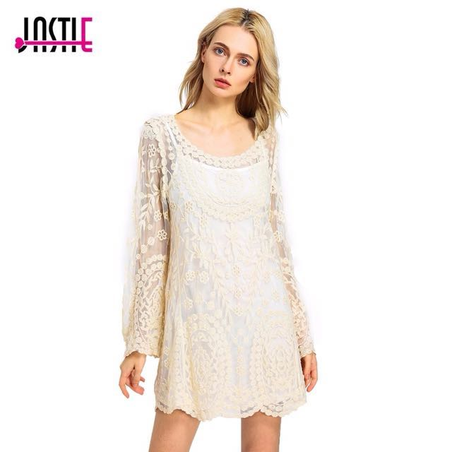 Lace Boho Cream Small Womens Dress Festival Long Sleeve Transparent Bather Cover
