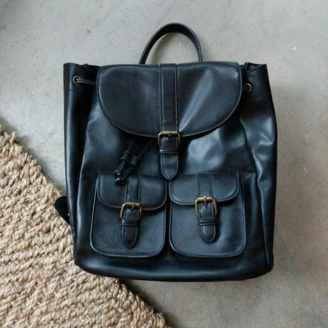 Little burgundy black leather backpack