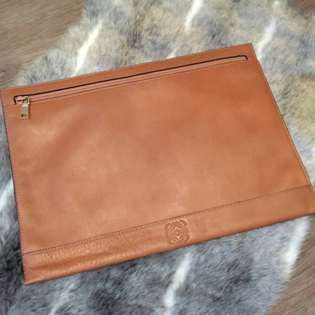 Loewe Camel Leather Clutch