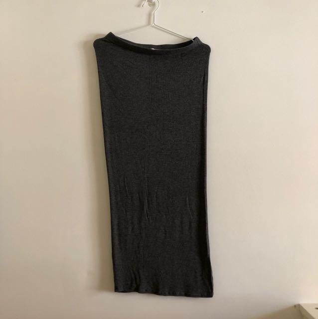Long dark grey maxi skirt