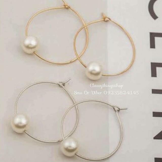 Loop Earrings with Pearls
