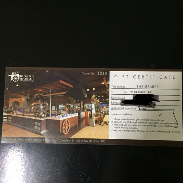 Makan Makan Asian Food Village All You Can Eat Buffet Gift Certificate