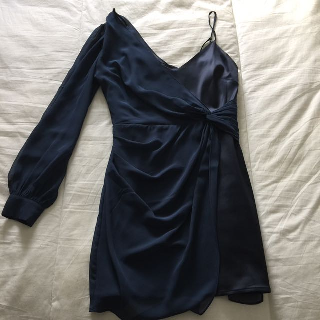 Marciano navy blue two fabric mini dress