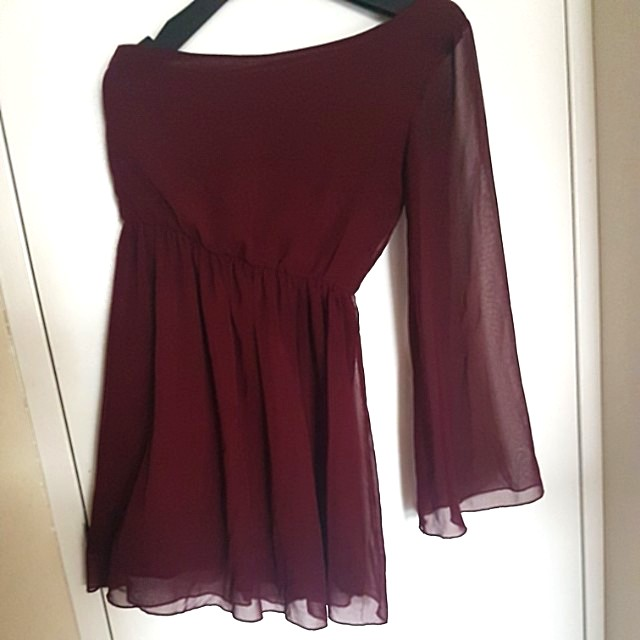 MAROON ONE-SHOULDER DRESS - 8