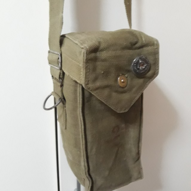 Military Surplus Vintage Belgian Gas Mask Bag.