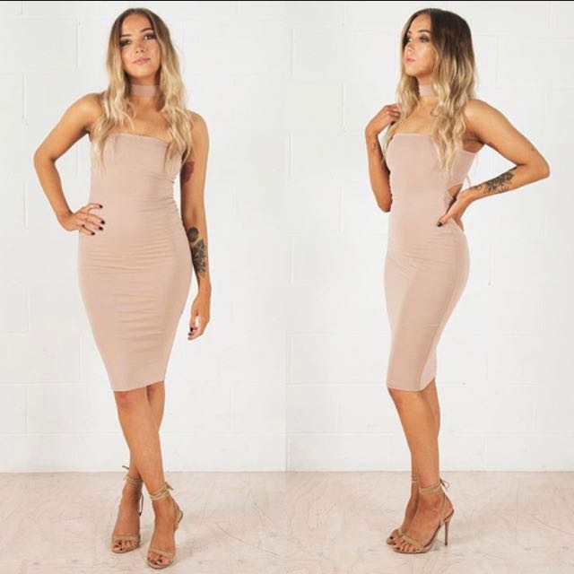 Nude Cut Out Midi Dress