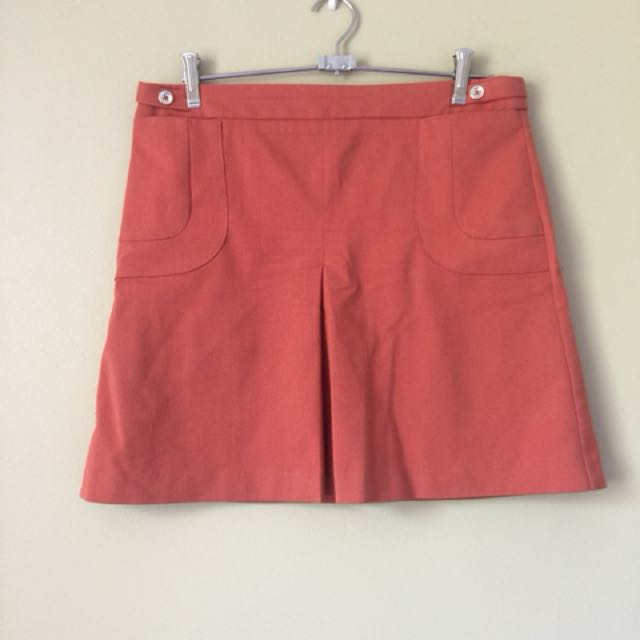 Orange Pleated Mini Skirt