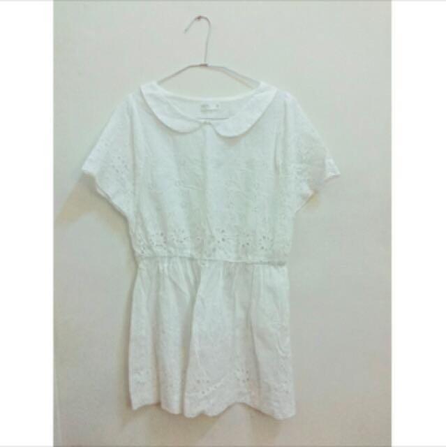 Pazzo 鏤空雕花純白洋裝