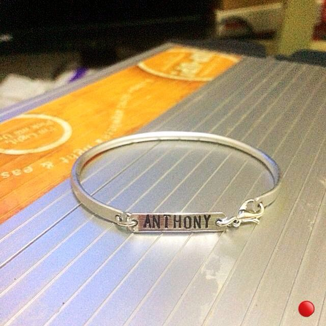 Personalised Round Rod Bangle Bracelet Top Clasp Version