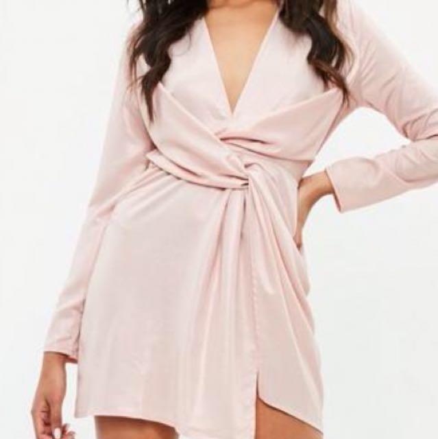 Plunge Pink Silk Wrap Dress Size 12