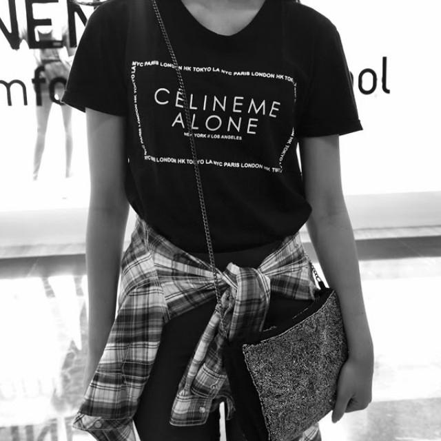 (PRELOVED) Celine Me Alone Joke T-shirt / Black T-shirt