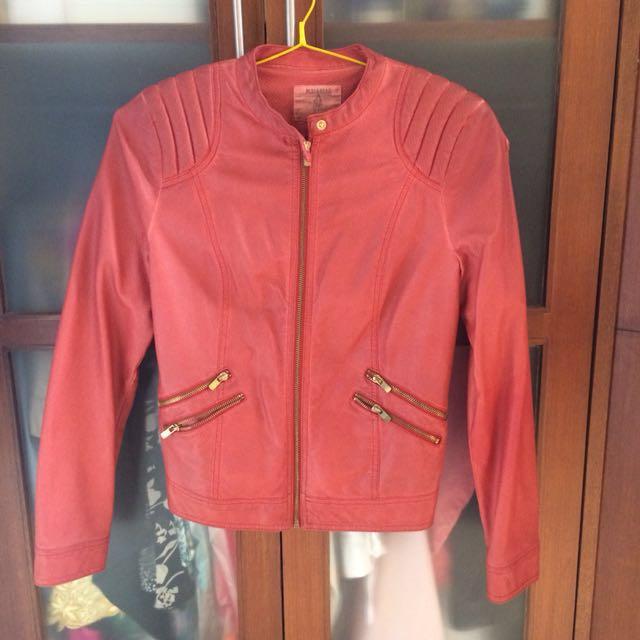 Pull & Bear Orange Leather Jacket
